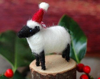 Santa Lamb - Needle Felted Suffolk Sheep Christmas Ornament