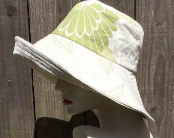 Wide brim sunhat,floppy brim sunhat,linen hat,sunhat for women,festival hat,green sunhat,reversible sun hat