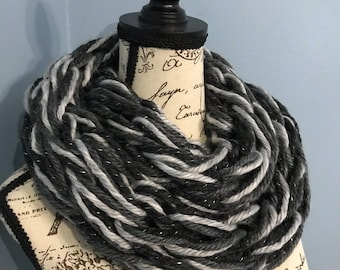 Chunky Wrap/ Arm Knit/ Cowl/ Charcoal Gray/ Sparkle/ Light Gray/ Infinity Scarf/Warm/ Custom Fashion/ Accessories/ FAST Delivery