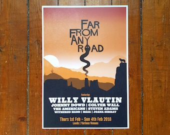 Festival Poster for 'Far From Any Road' Country Americana Gig in Leeds by 0R8 DESIGN