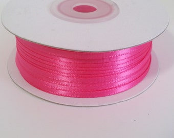 "1/8"" and 1/16"" Hot Pink Double Face Satin Ribbon - 100 Yards"