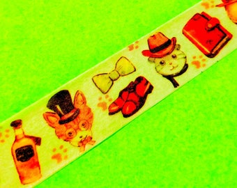 Mysterious Mister Cat Fancy Dress Costumed Kittens 20mm Wide Masking Paper Washi Tape Color Cute Animal Stickers Space Travelers Love 2cm