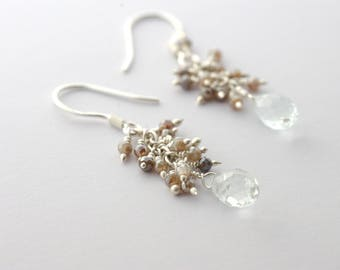 Aquamarine Cluster Drops, Sterling Silver Earrings Aquamarine Drop Earrings Labradorite Cluster Earrings March Birthstone Earrings