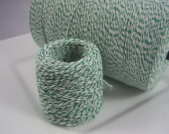 Bakers Twine - Garden Green and White Bakers Twine or Your Choice of Color -  50, 75 or 100 yards