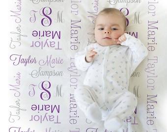 Monogrammed Receiving Blanket Purple and gray personalized swaddle blanket, girl monogram blanket , baby shower gift, baby blanket 1007