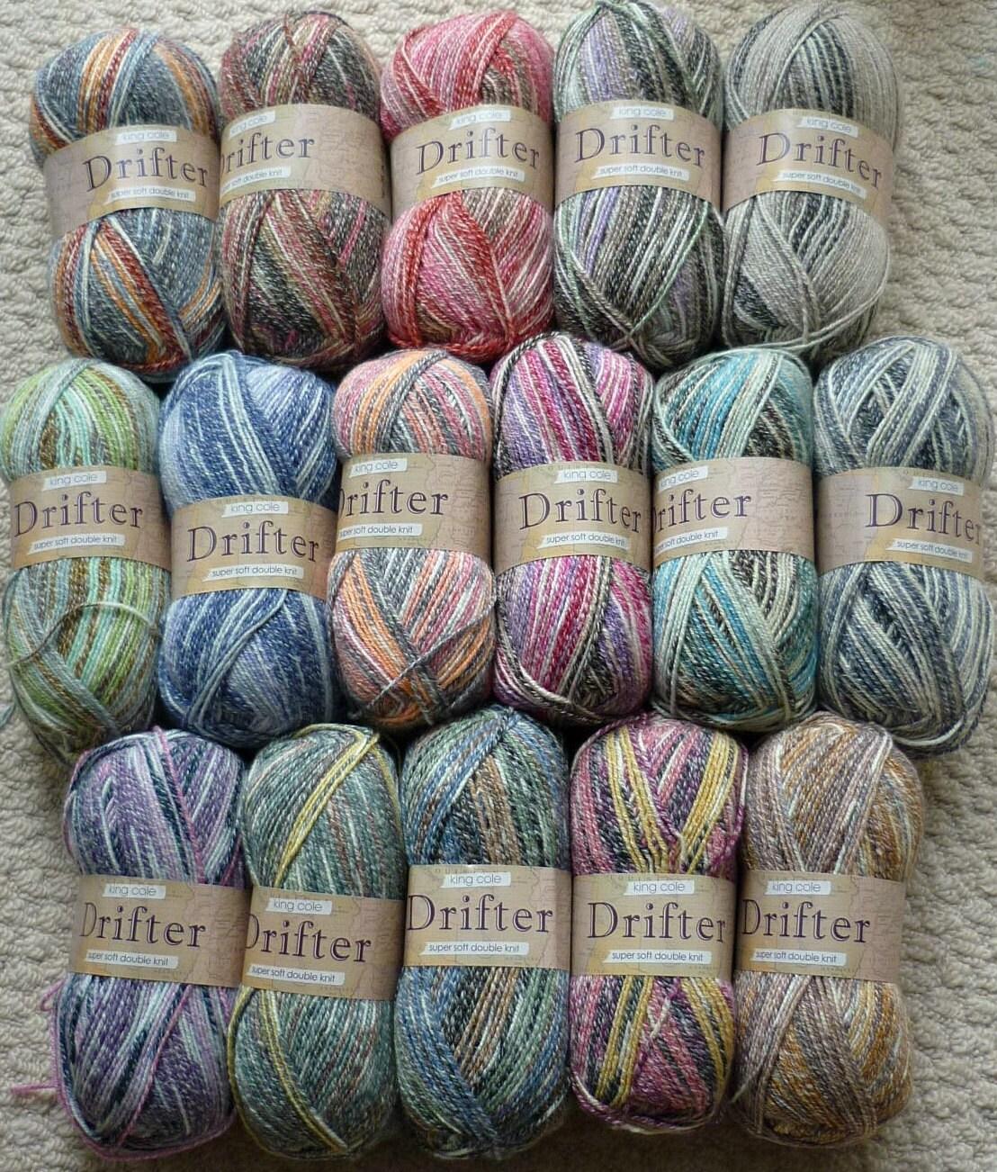 DK Knitting Wool/Yarn King Cole Drifter Cotton Mix Multi
