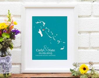 Bahamas Wedding Gift, Personalized Bridal Shower Gift, Personalized Anniversary, Bahama Engagement Gift, Guest Book Idea -  Art Print