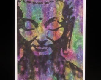 Peaceful Buddha Color Burst Digital Print