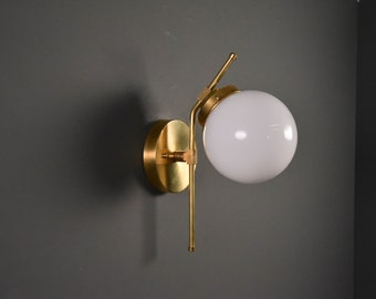 Raw Brass Wall Sconce Single Light 6-inch Globe Vanity Mid Century Industrial Modern Art Light UL Listed