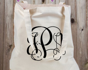 Canvas Tote Bag - Personalized with your Monogram