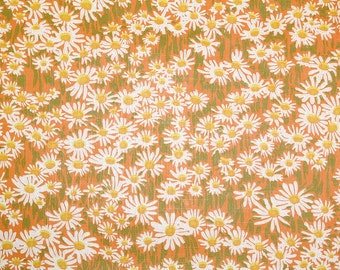 Retro Wallpaper by the Yard 70s Vintage Wallpaper - 1970s Little White Daisies on Orange