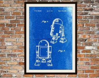 Star Wars R2-D2 Blueprint Art Star Wars Droid R2-D2 Technical Drawing Engineering Drawings Patent Blue Print Art Item 0108