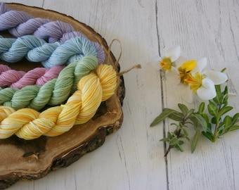 Merino Sock Yarn Mini Skeins - 5 x 20g - 4ply Pastel Colours - hand dyed