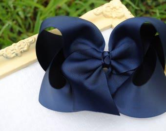"""Big Bow 6"""" Navy Hair Bow Nautical Bow Navy Blue Hair Bow Patriotic Bow 6 Inch Hair Bow Jumbo Hairbow XL Hair Bow Preppy Hair Bows for Babies"""