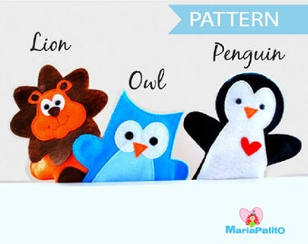 PDF Sewing Pattern for Lion, Owl and Penguin Hand puppet - PREMIUM PATTERN - Sewing pattern - A510