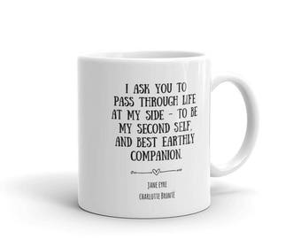 Jane Eyre Quote Mug, Bookish Couples Mugs with Sayings, Ceramic Coffee Mug Book Lover Gift, Love Book Quote by Charlotte Bronte