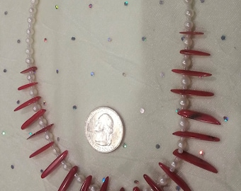 Red Branch Coral & White Pearl Necklace