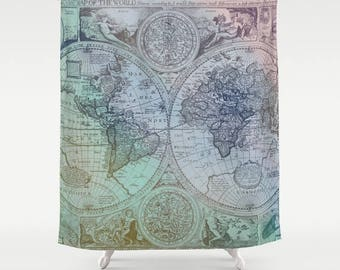 Colorful Antique World Map fabric Shower Curtain - Antique map - travel Decor - home  Bathroom - maps - beautiful maps