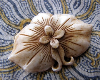 Moth Orchid Carved Bone Brown Cabochon 47mm