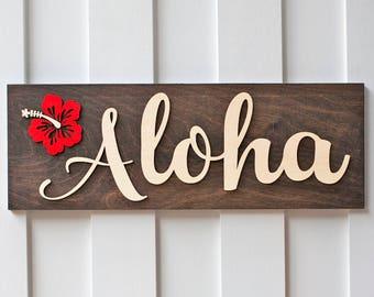 Aloha Sign | Aloha Sign Welcome Sign |Hawaii Aloha Sign | Hawaii Sign | Rustic Sign | Front Door Sign| Doorway Sign| Sign |  | 3d Sign