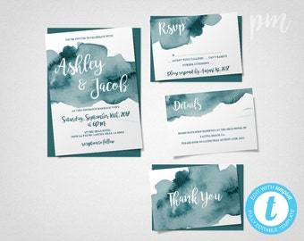 Teal Watercolor Wedding Invitation Template Set, Teal Watercolor Invitations, Printable Invitation, Instant Download, Easy to Edit Template