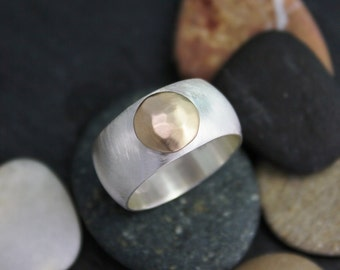 Gold Button Ring, Sterling Silver and 14k Yellow Gold, 10mm Wide Band Ring, Stackable Ring, Eco Friendly Ring, Ready to Ship