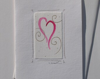 Valentines Day card, hand-painted original watercolor.