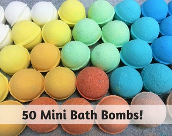 FREE SHIPPING, 50 Mini Bath Bombs, Bulk Bath Bomb Favors, Spa Gift Set, Bath Fizzies. Coconut Oil, Epsom Salt, Shea Butter, Christmas Gift,