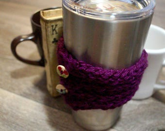 Purple coffee cozy