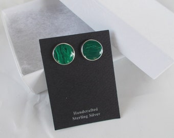 Malachite and Sterling Silver .925 Round Stud Earrings w/ post backs