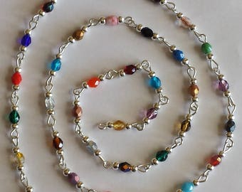 55cm of chain/beads 4mm multicolored glass Bohemian