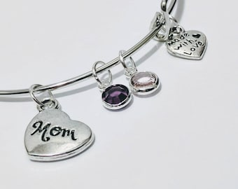 Mom Bracelet, Mother's Bracelet, mom jewelry, mother's day gift, gift for Mom, Birthstone jewelry, children's birthstone bracelet, mommy, ma