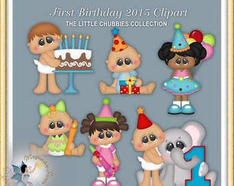 Baby Clipart, Chubbies, First Birthday 2015
