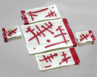Fused Glass Sushi SET for Two Red White Fused Glass Sushi Platter Plates Soy Sauce Dish Abstract Hieroglyphs Organic Design