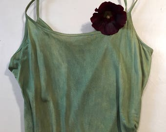 Eco Dyed Fine Knit Silk Camisole; Spring Green; hollyhock and indigo; Size small