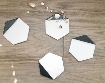 Hexagon White Marble Coasters. Set of 2, Set of 4 or Set of 6. Black Painted Honed Marble. Natural Stone Coasters. Geometric Coasters