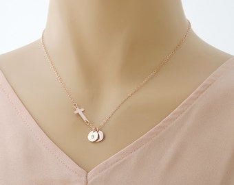 Initial Necklace 14k Rose Gold Fill Large Disc Personalized