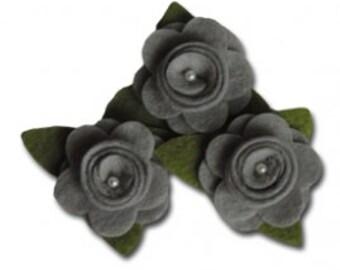 Maya Road Felt Roses - Earl Grey