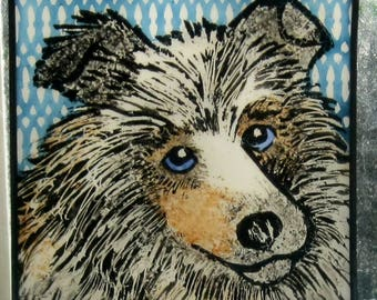 Collie or Sheltie  Stained Glass Dog Suncatcher JRN10