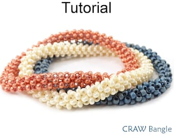 Bangle Bracelet Beading Pattern - Beaded CRAW Cubic Right Angle Weave Jewelry Making Tutorial - Simple Bead Patterns - CRAW Bangle #26832