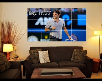 Roger Federer Tennis Player Poster - Large Mosaic Tile Effect Wall Art Poster