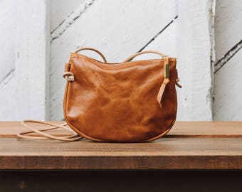 Leather Crossbody Zip Purse: The Luna Crossbody in Tan Leather by Awl Snap