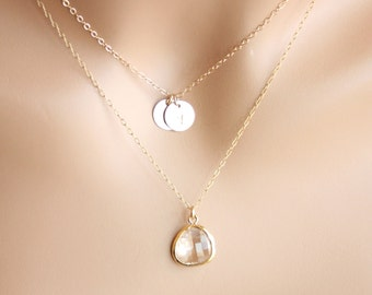 Double necklace Two initial Disk Layer Stone in bezel - Gold Filled engraved couple necklace, birthday mothers day gift for her, mom, wife