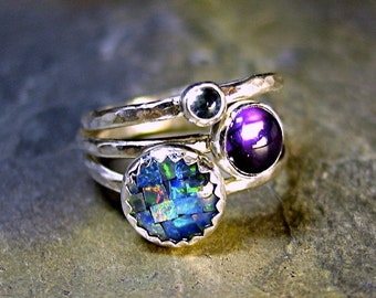 Sterling Silver Stacking Rings, Opal, Amethyst, Blue Topaz - Party of Three