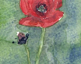 watercolor painting- Poppy- flower art print