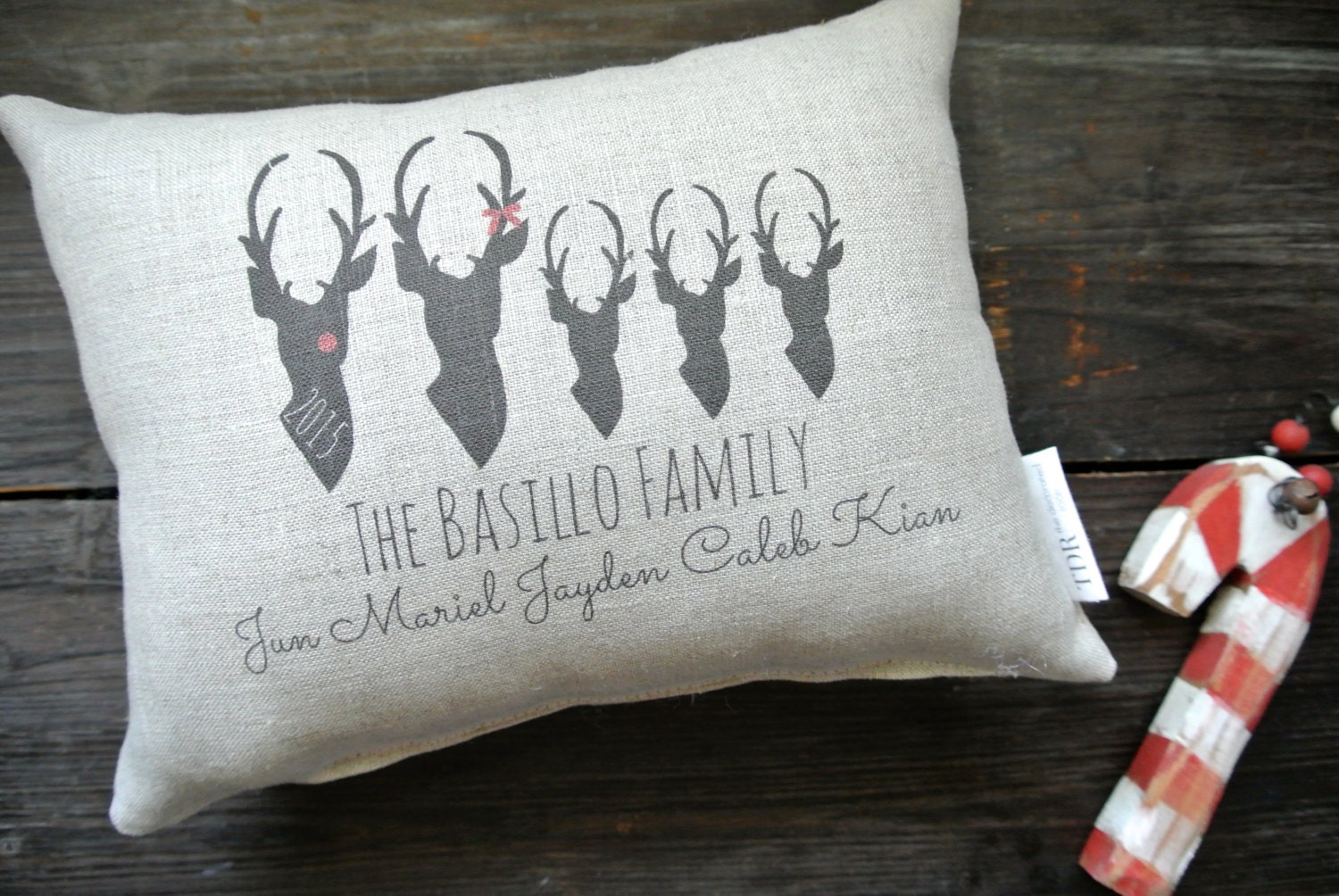 Deer Pillow Reindeer Personalized Holiday Pillow