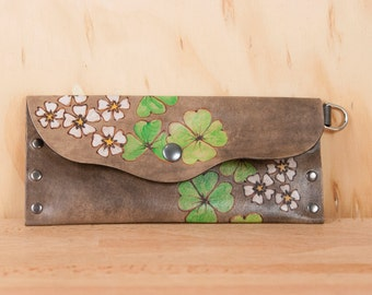 Leather Pouch or Clutch - Lucky pattern with flowers and shamrocks in green and antique black  - Envelope Clutch or Wristlet