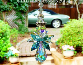 m/w Swarovski Crystal RARE INDICOLITE TEAL Wings Aqua Aurora Borealis Guardian Suncatcher Rear View Mirror Car Charm Lilli Heart Designs