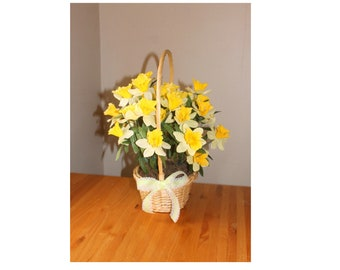 Daffodil Basket with Green Gingham Bow Spring Easter Yellow Centerpiece Bouquet American Cancer Society Daffodil Days Wedding Flower Girl