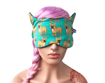 Sleep Mask with Cat Ears French Bulldog